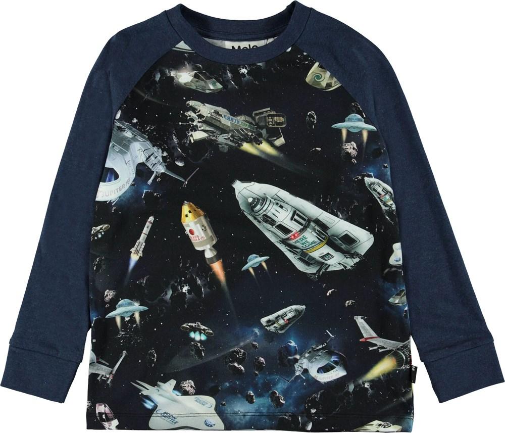 Ramiz - Space Traffic - Blå bluse med rumskibe.
