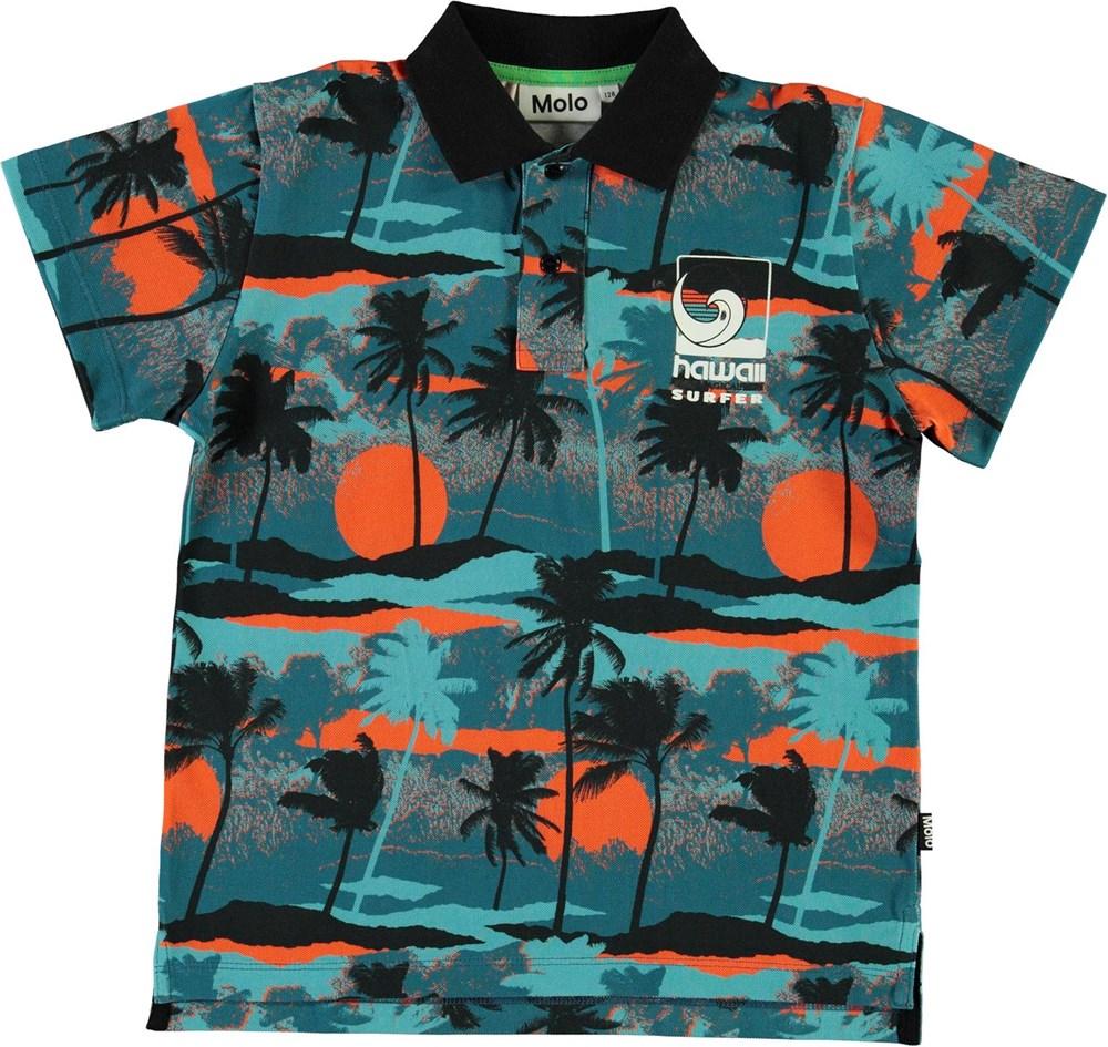 Ramon - Palm Trees Blue - Økologisk blå polo palme t-shirt