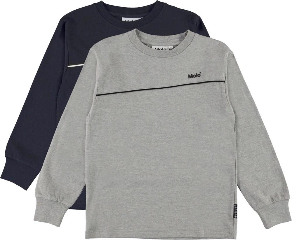 Rasmono 2-Pack - Navy Grey - Økologisk 2-pack basic bluser blå og grå
