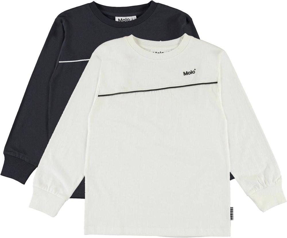 Rasmono 2-Pack - White Black - Økologisk 2-pack basic bluser hvid og sort