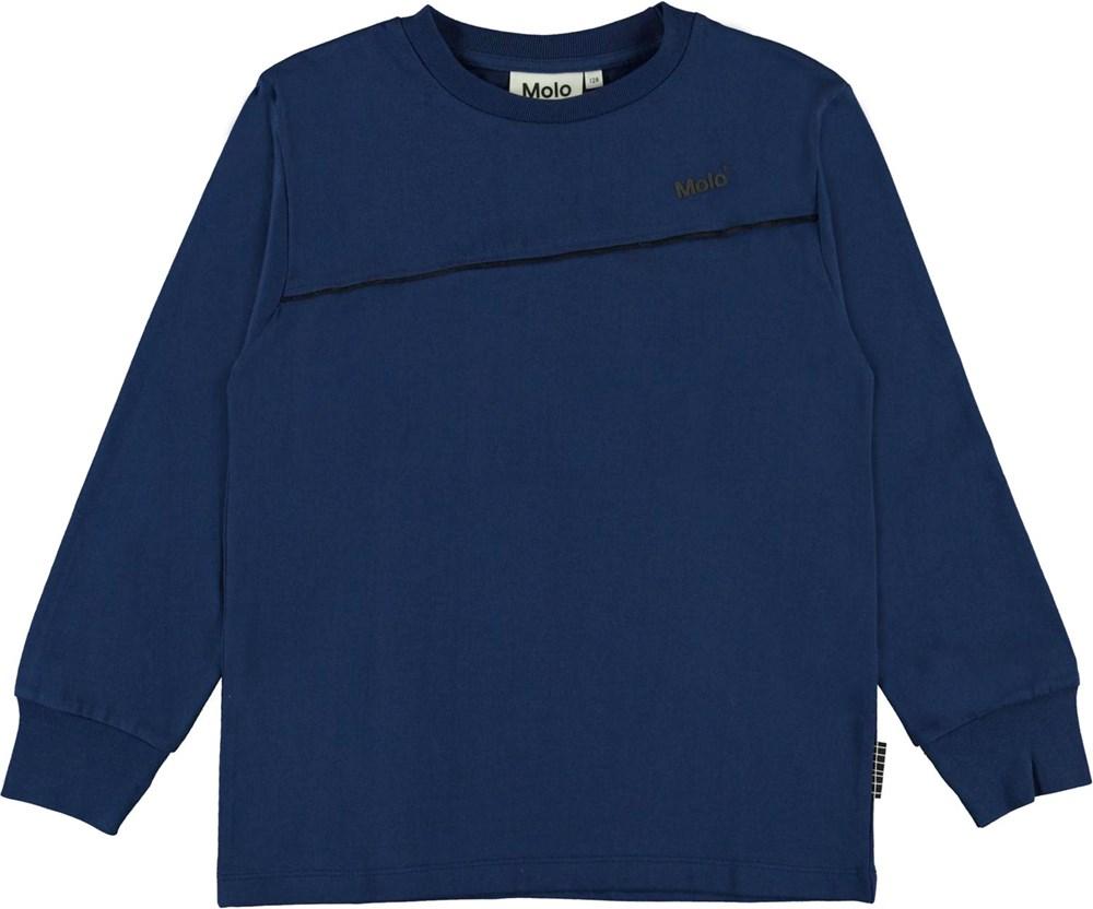 Rasmono - Ink Blue - Økologisk blå bluse med logo og stribe