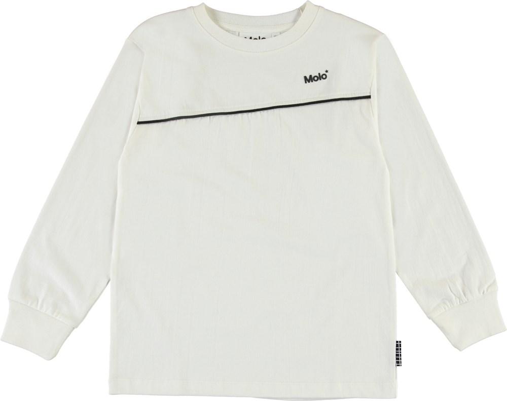 Rasmono - White Star - Økologisk hvid bluse med logo og stribe
