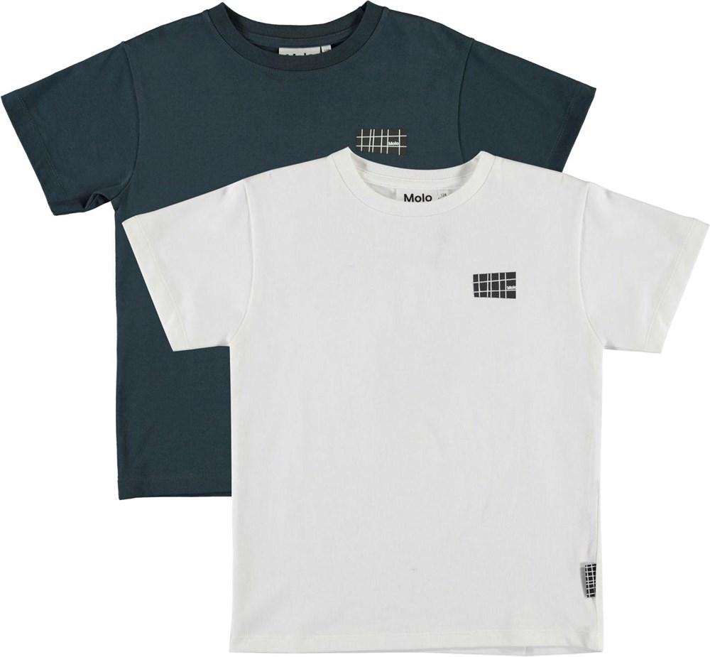 Rasmus 2-Pack - Summer Night - Økologisk 2-pack blå og hvid t-shirt