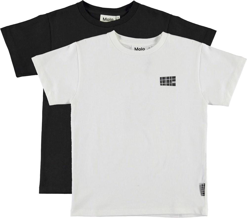 Rasmus 2-pack - White Black - Økologisk 2-pack t-shirt sort og hvid