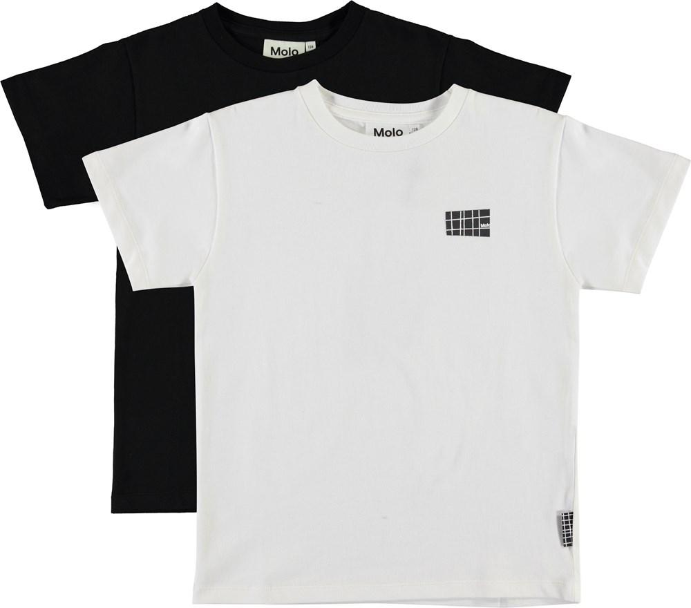 Rasmus 2-Pack - White Star - Økologisk sort og hvid t-shirt