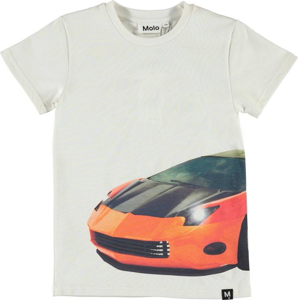 Raven - Patchwork Car Big - Hvid t-shirt med print af bil