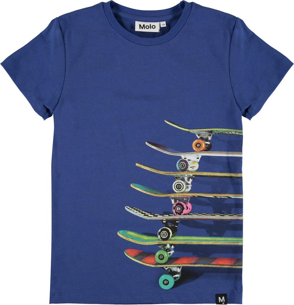 Raven - Skateboards Blue - Blå t-shirt med skateboards