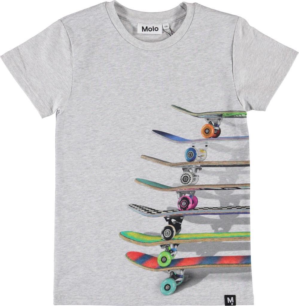Raven - Stacked Skateboards - Grå t-shirt med skateboards