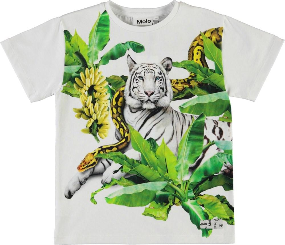 Raveno - Resting Tiger - Økologisk hvid t-shirt med tiger og slange
