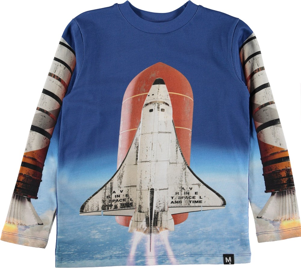 Reif - Rocket Launch - Blå bluse med rumskib.
