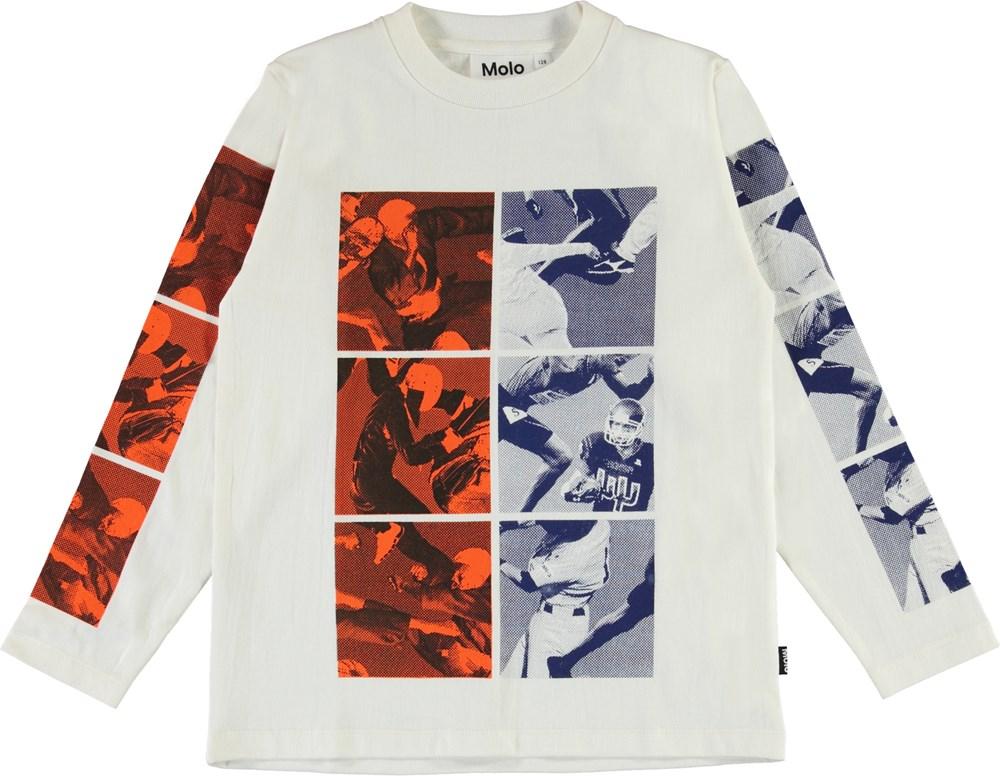 Reif - White Star - Økologisk hvid bluse med sports print