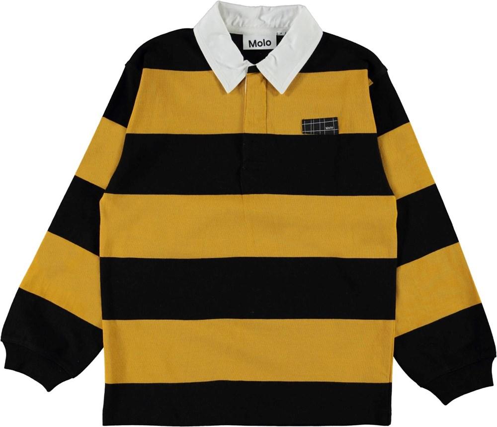 Relz - Wide Stripe - Økologisk gul og sort stribet polo bluse med krave
