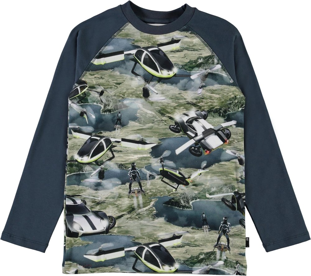 Remington - Up In The Air - Økologisk blå bluse med flyvende biler