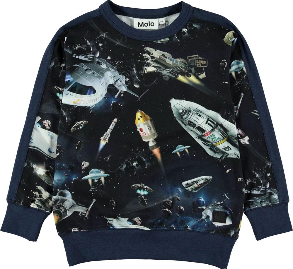 Reno - Space Traffic - Blå sweatshirt med rumskibe.