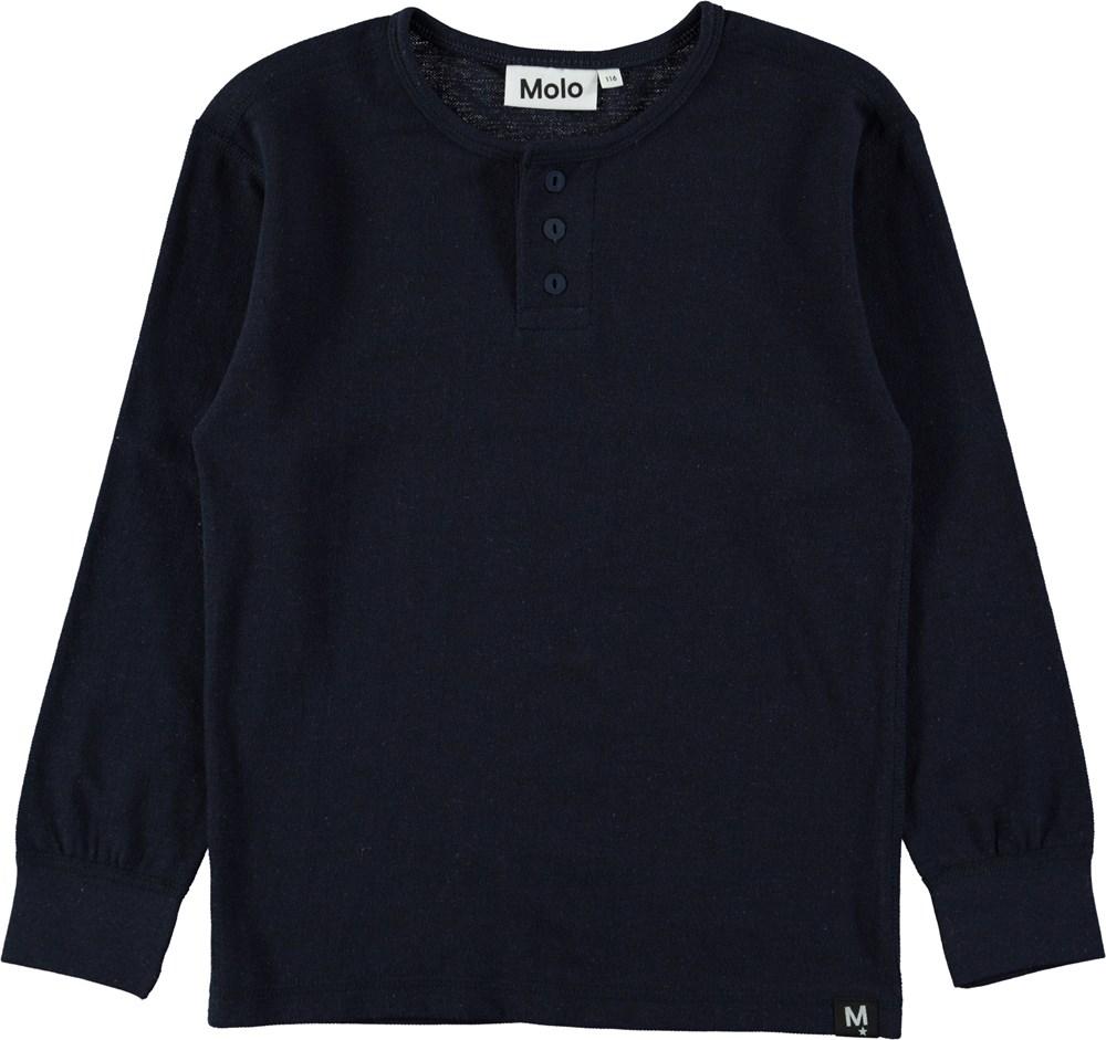Ressi - Dark Navy - Mørkeblå basic bluse med knapper