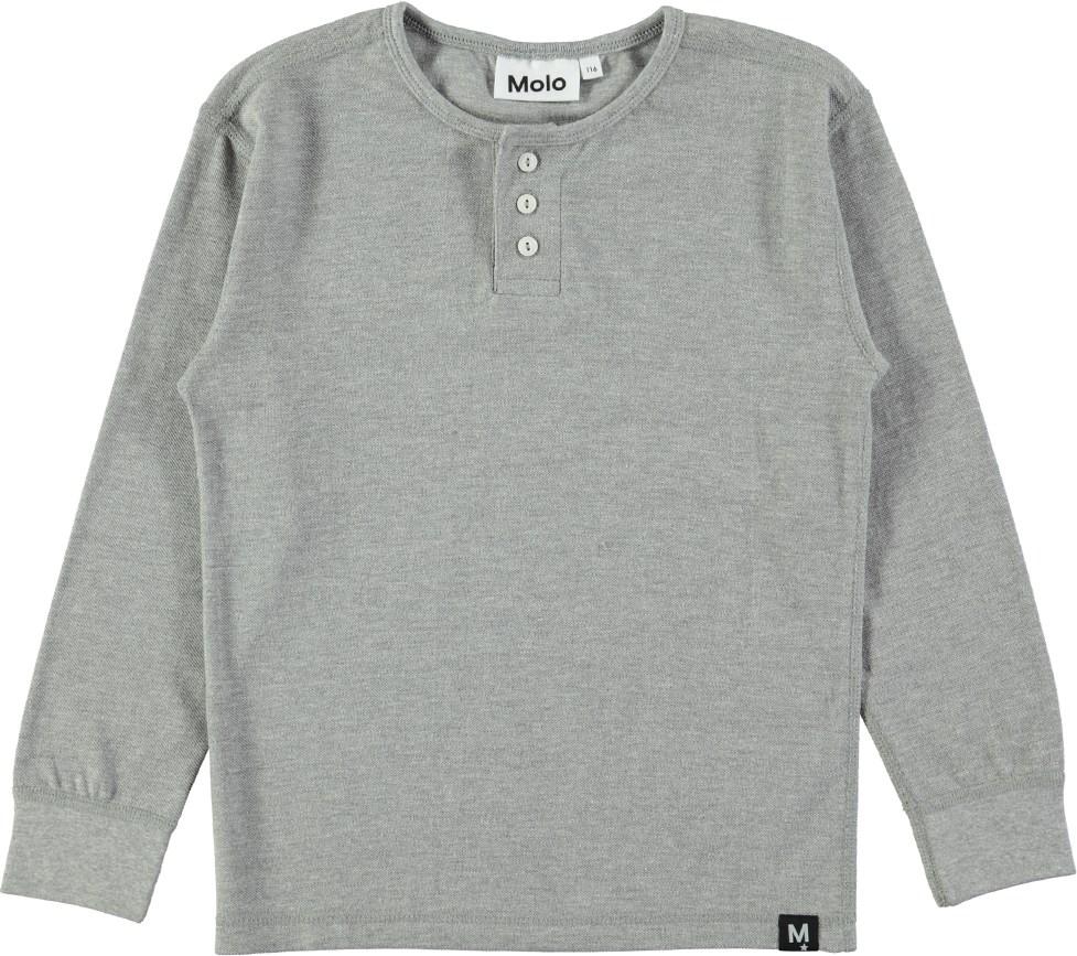 Ressi - Grey Melange - Gråmeleret basic bluse med knapper