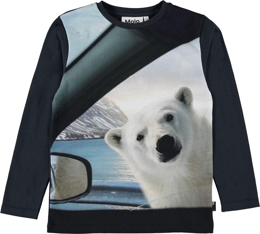 Rexol - Curious Bear - Mørkeblå bluse med isbjørn.
