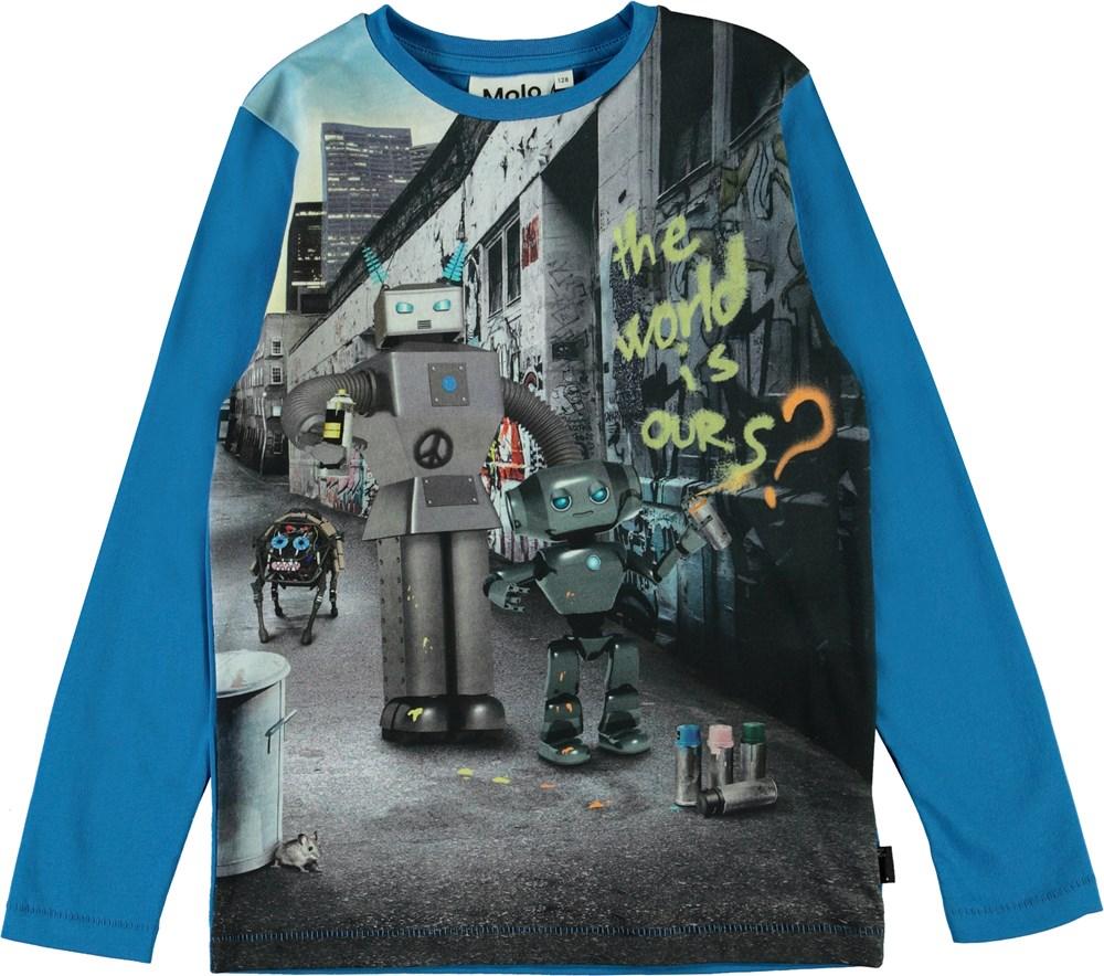 Rexol - Graffiti Robot - Bluse med print af robotter.