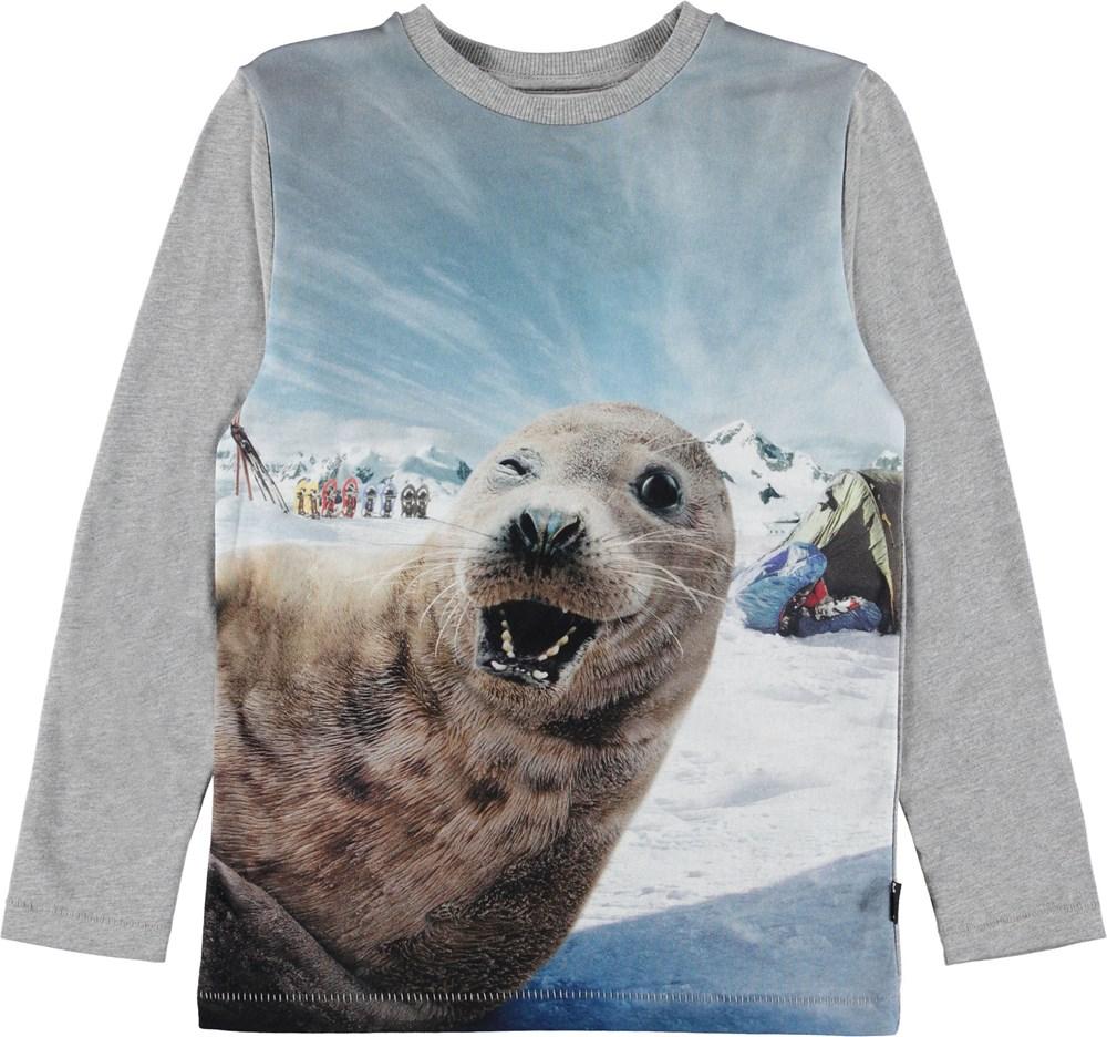 Rexol - Seal-Fie - Grå bluse med sæl.