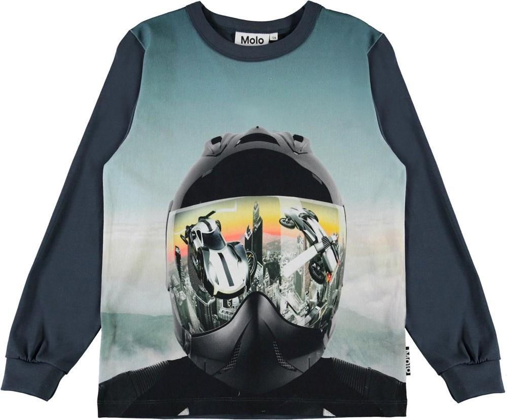 Rez - Helmet - Økologisk blå bluse med hjelm print