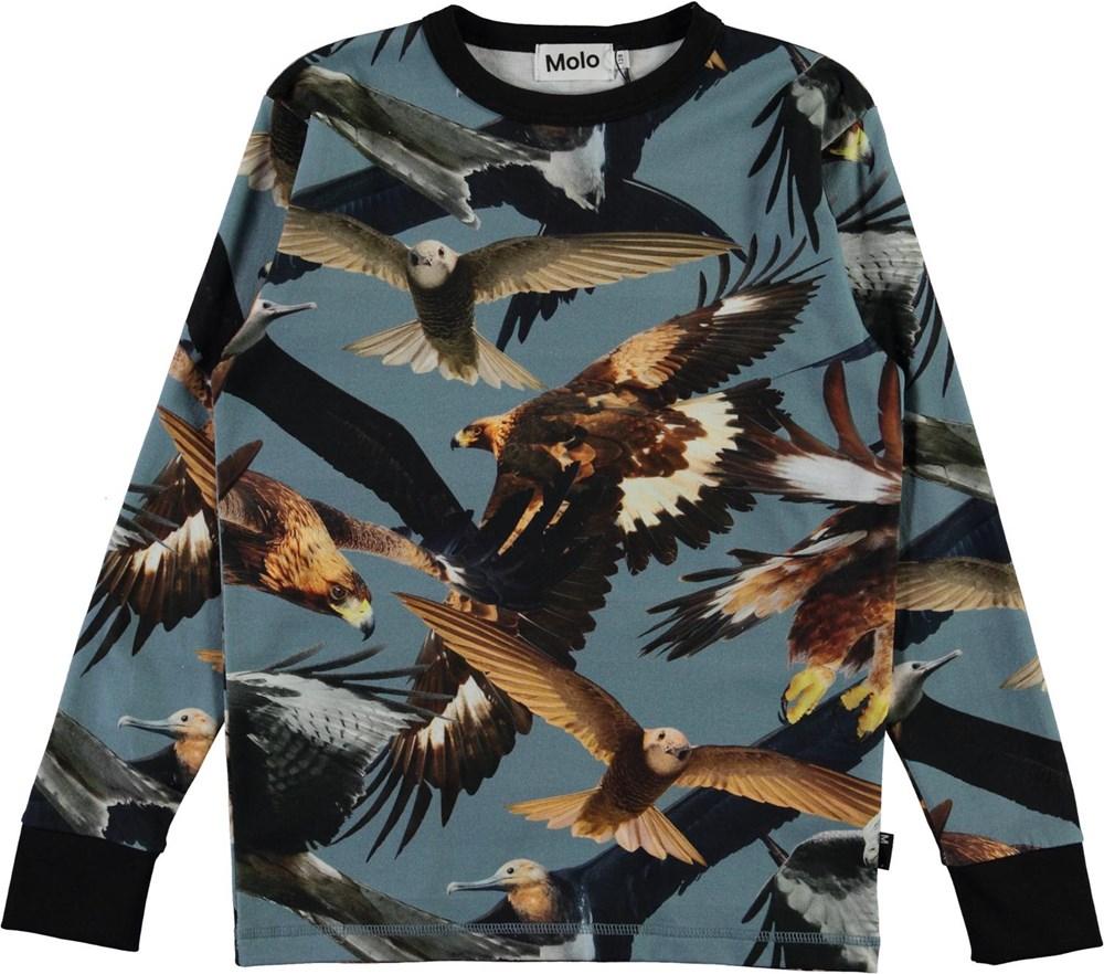 Rill - Birds - Økologisk blå langsærmet t-shirt med fugle print