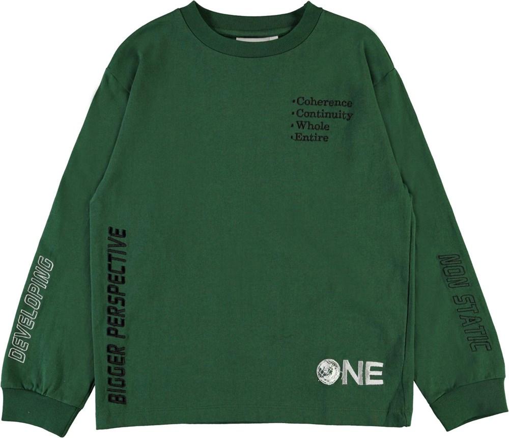 Rin - Eden - Mørkegrøn bluse med tekst