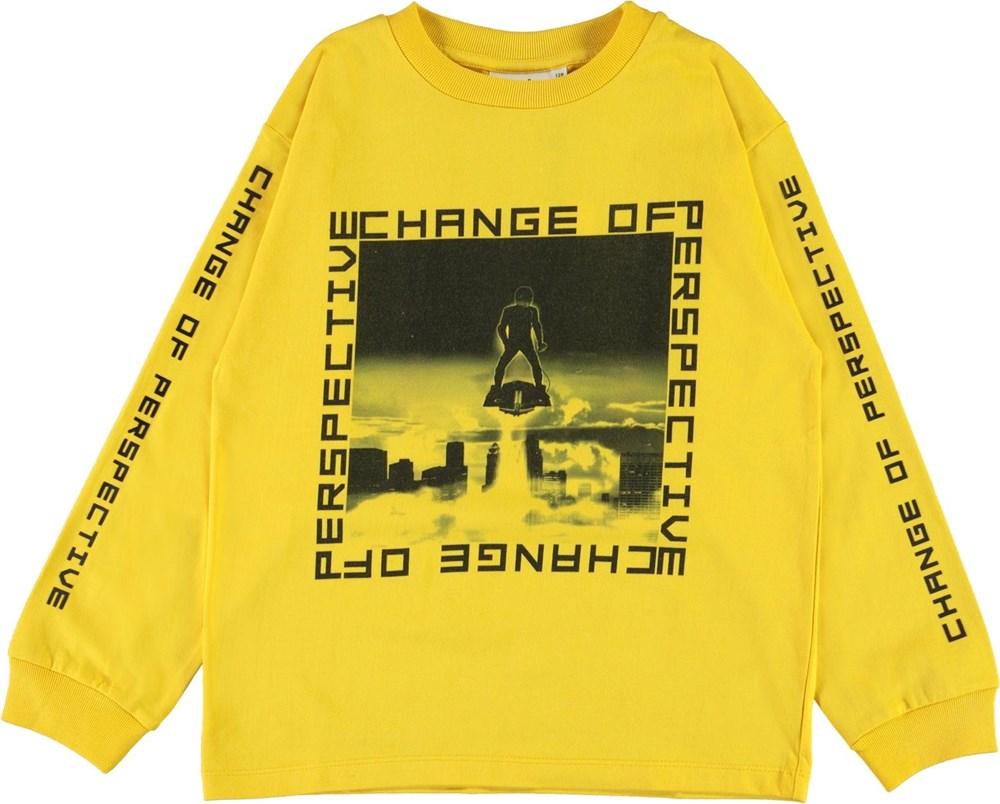 Rin - Sunrise - Økologisk gul bluse med change print