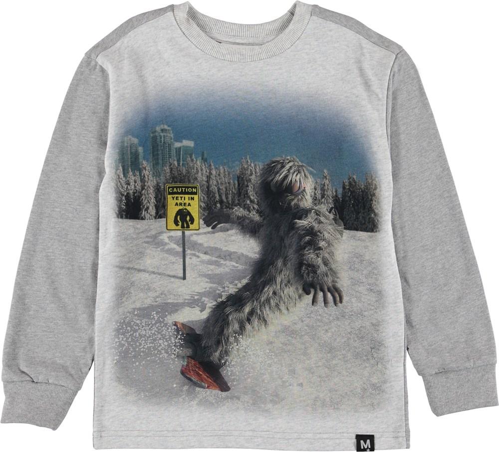 Risci - Yeti - Bluse med Yeti på snowboard.