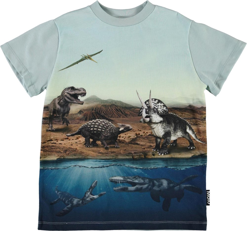 Road - Dino World - Økologisk lyseblå t-shirt med dinosaur