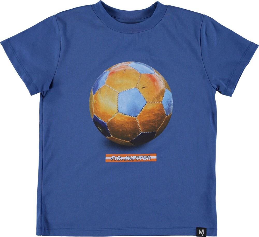 Road - F_C_ Jupiter - Blå t-shirt med Jupiter og fodbold.