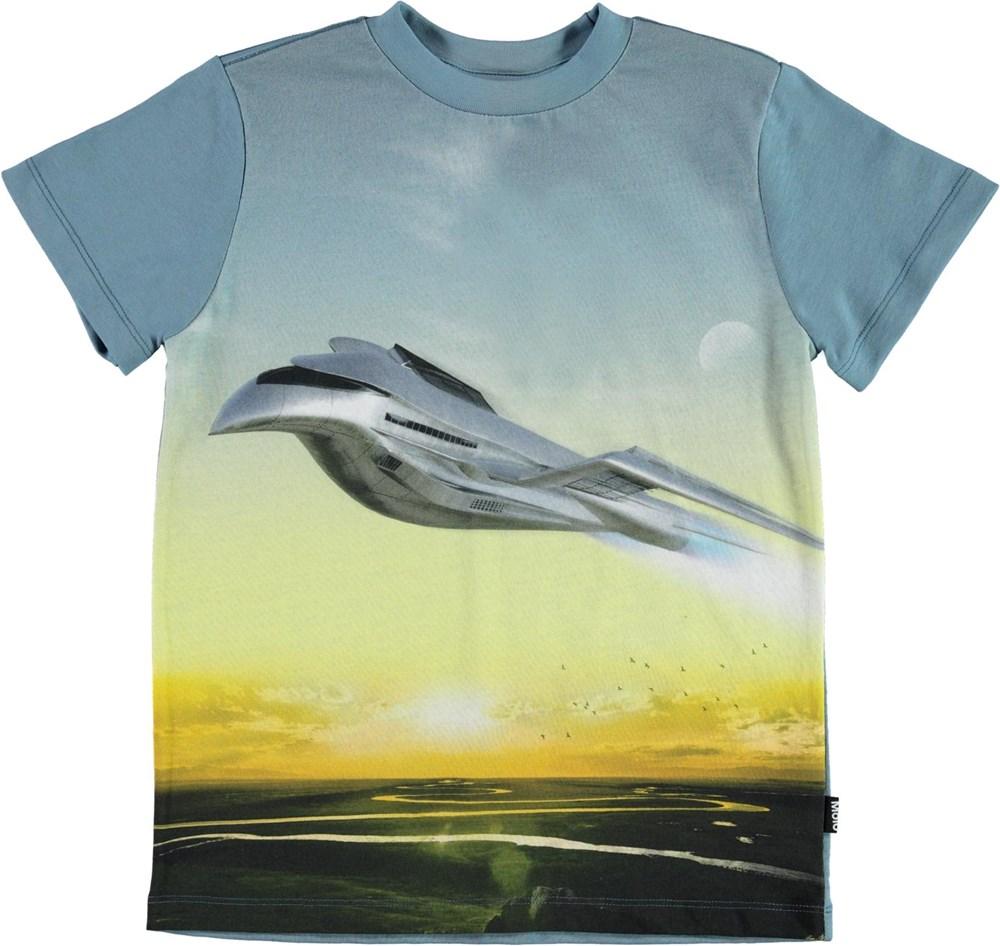 Road - Flying - Økologisk blå t-shirt med fly print