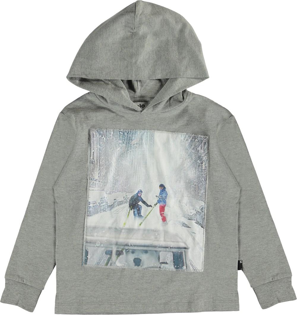Robert - Grey Melange - Grå hættetrøje med ski print