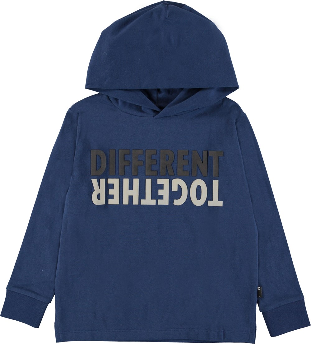 Robert - Infinity - Mørkeblå hoodie med print af tekst.