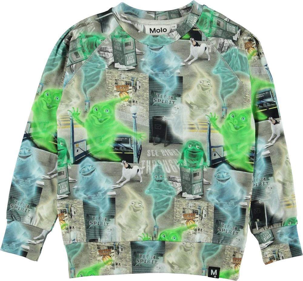 Romeo - Ghost City - Bluse med grønne spøgelser.