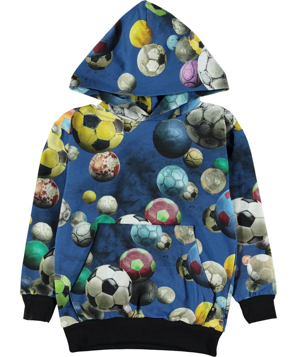 Romo - Cosmic Footballs - Blå hættetrøje med fodbolde.