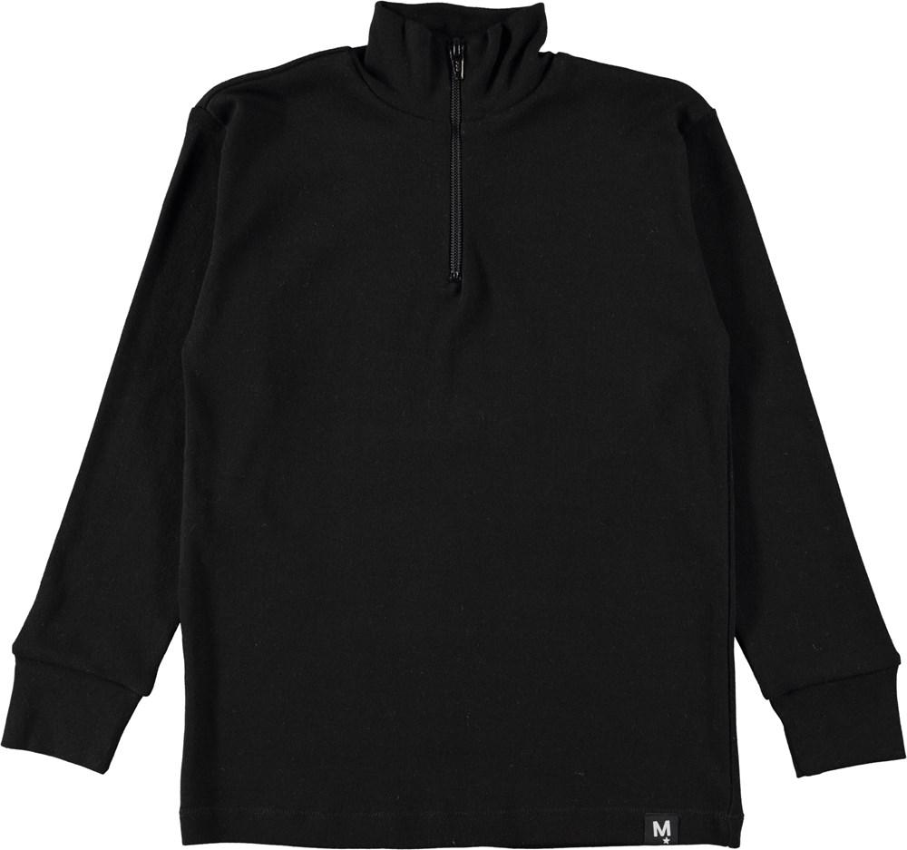 Rono - Black - Højhalset, sort bluse med lynlås