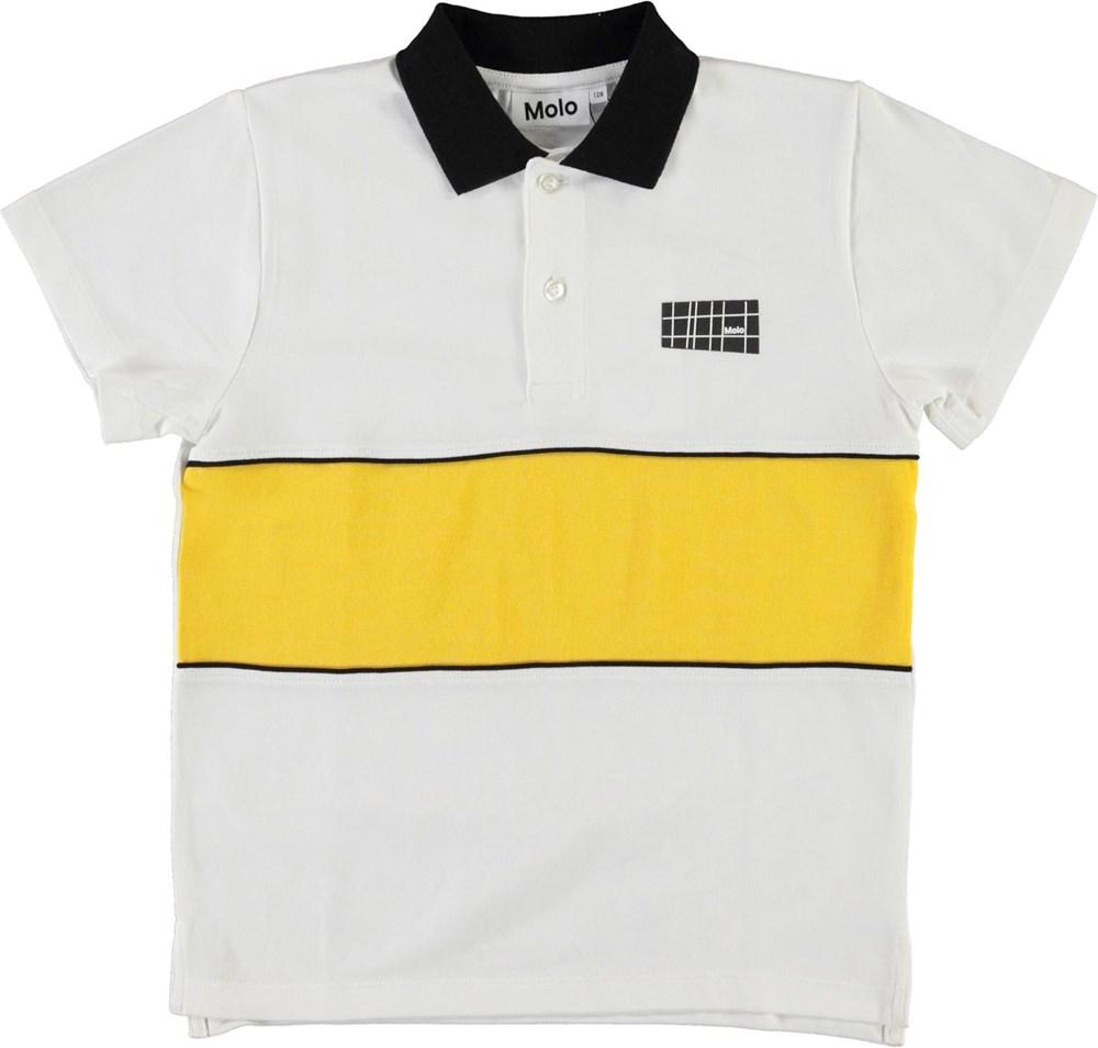 Row - White - Økologisk polo t-shirt med gul stribe
