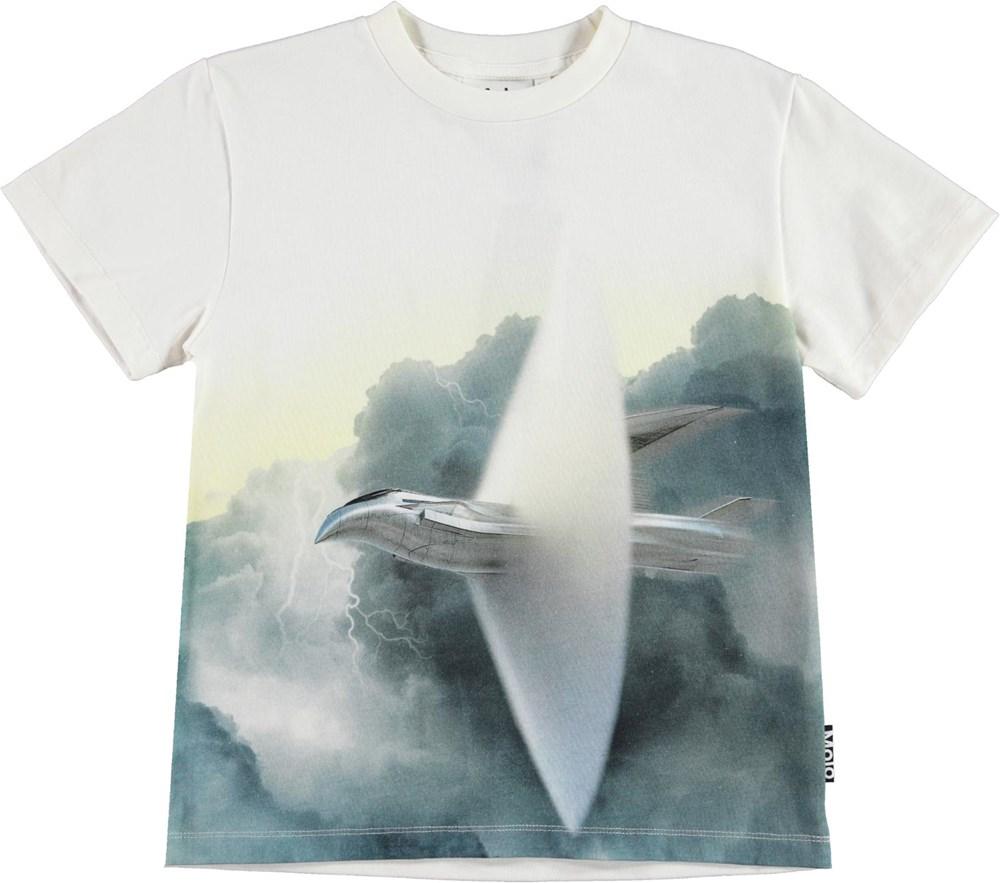 Roxo - Breaking Barrier - Økologisk hvid t-shirt med fly