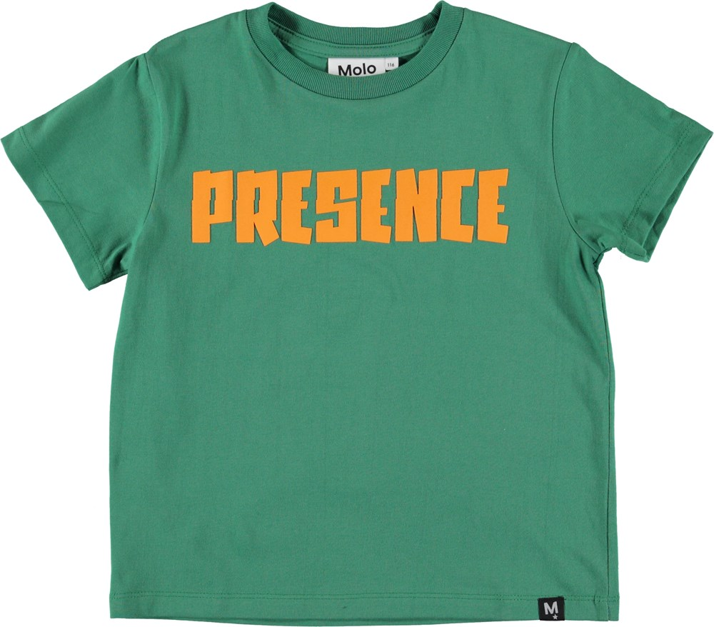 Roxo - Presence - Grøn t-shirt med teksten Presence.