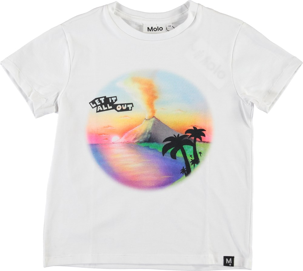 Roxo - Airbrush Volcano - Hvid t-shirt med vulkan print.