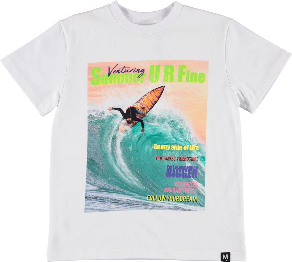 Roxo - Surf Life - Hvid t-shirt med surf print.