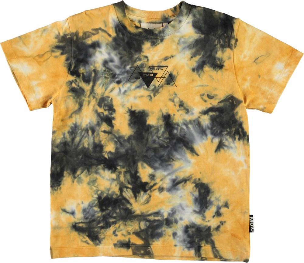 Roxo - Tie Dye - Økologisk gul og grå tie-dye t-shirt