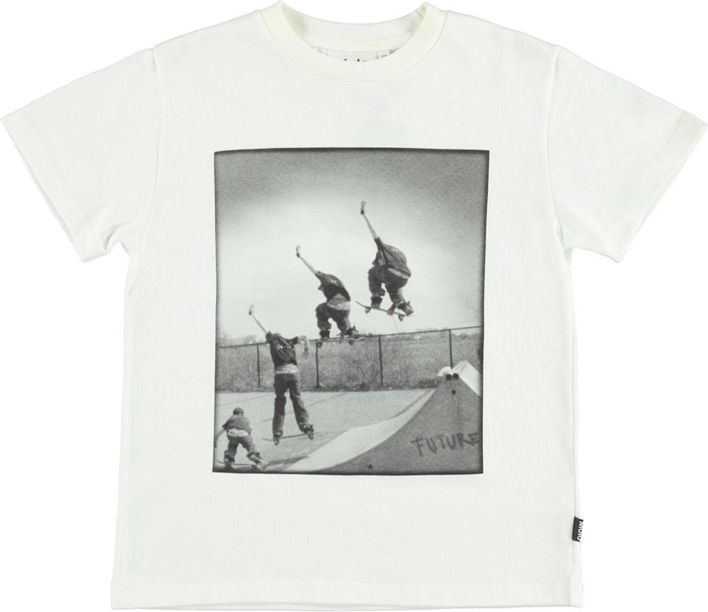 Roxo - White Star - Økologisk hvid t-shirt med smiley print