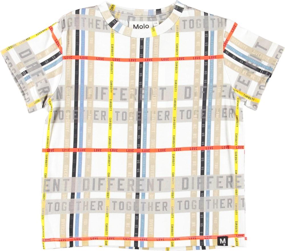 Roxo - Word Check - Hvid t-shirt med ord striber.