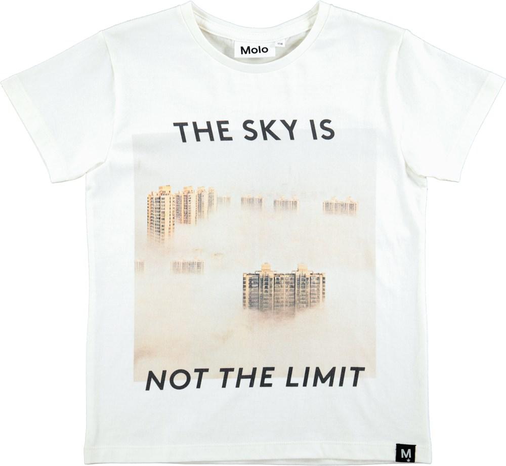 Runi - White Star - Kortærmet hvid t-shirt med print og grafisk tekst