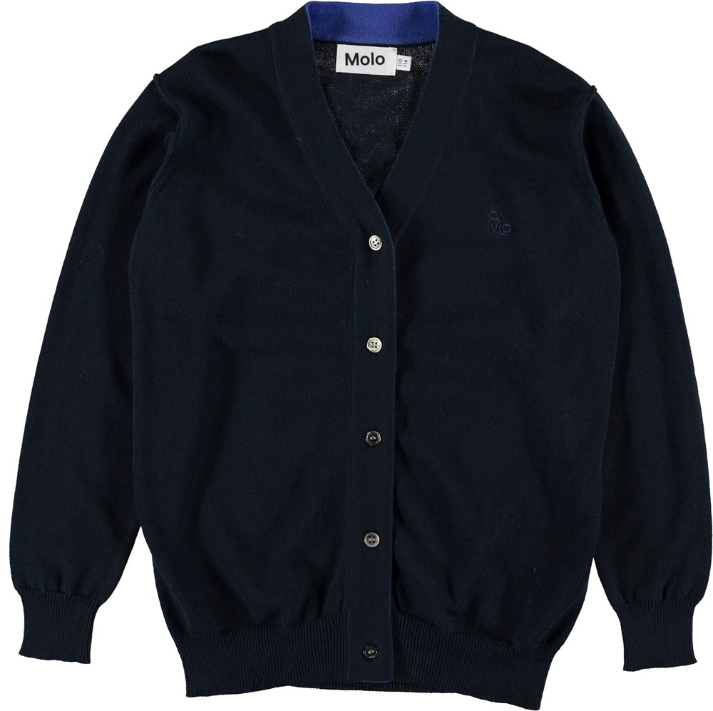 Basel - Carbon - Blå strik cardigan.