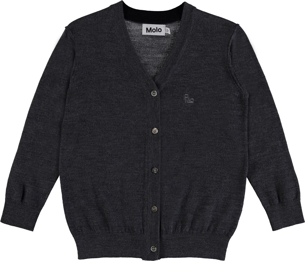 Basel - Medium Grey Melange - Strik cardigan med knapper.