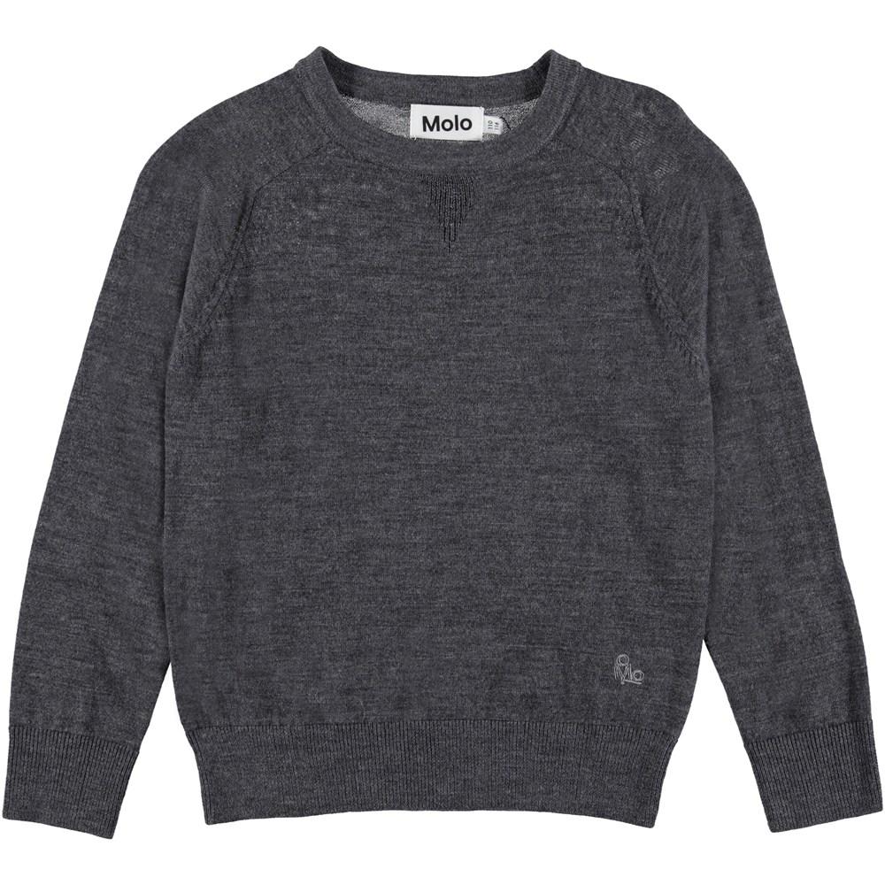 Billy - Medium Grey Melange - Strik pullover med crewneck