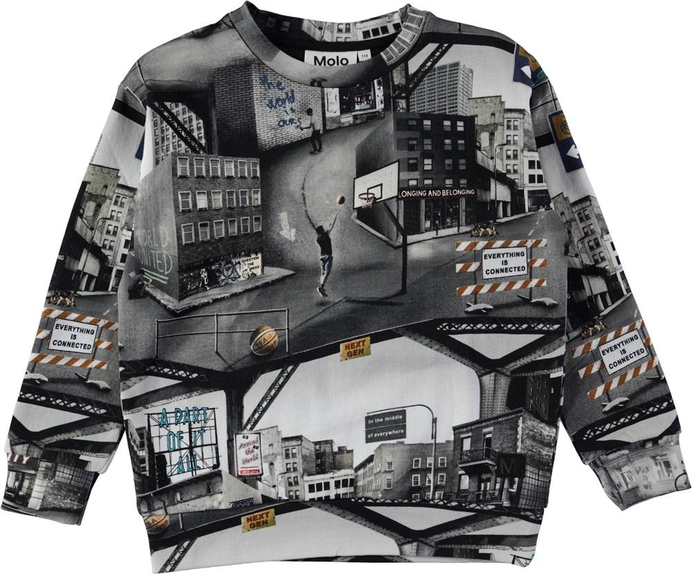 Madsim - City Text - Sweatshirt med city text digitalprint