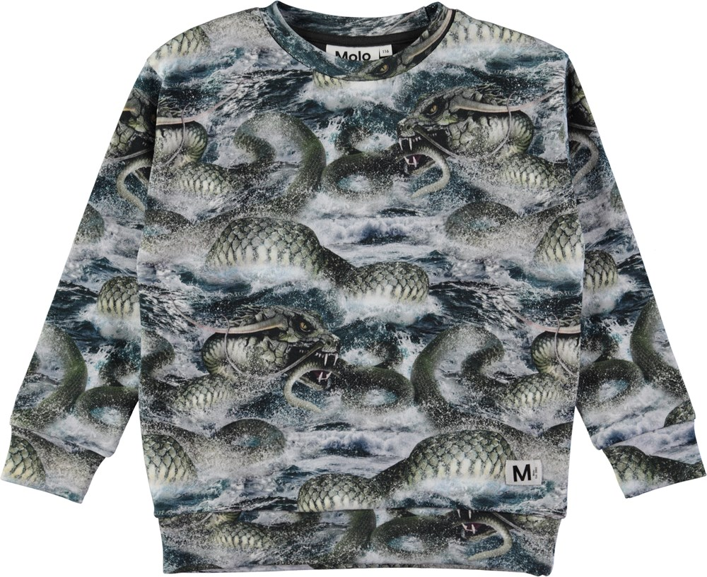Madsim - Midgard Serpent - Sweatshirt med digitalt slangeprint